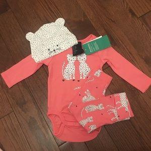 H&M Snow Leopard onesie, pant and hat set